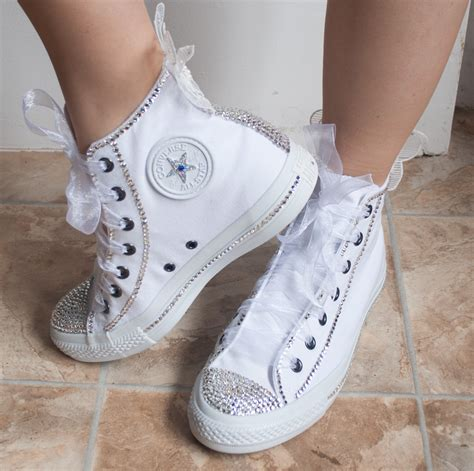 Wedding Shoes Converse by Wedding Converse High Top Wedding Trainers With Crystals