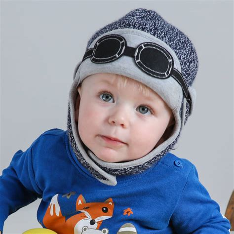 Winter Pilot Hat baby s winter pilot hat with goggles navy blue by