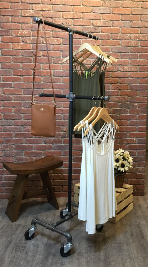 Stand Rak Besi Gantungan Baju Serbaguna Shelves Hangers Rack T1310 1 clothing rack with wheels 4 way industrial by williamrobertvintage