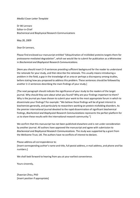 resubmission cover letter instructions for manuscript submission