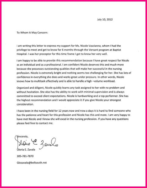 Letter Of Recommendation For Nursing School Scholarship 12 Recommendation Letter Nursing School