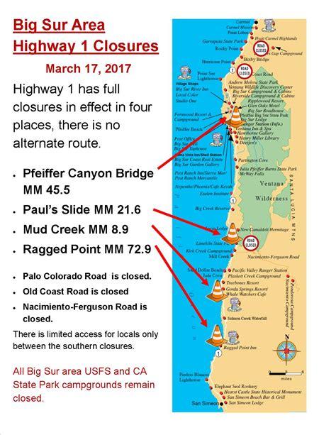 big sur map current big sur highway 1 closures big sur california