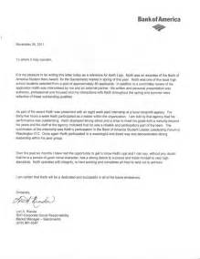 Financial Reference Letter Bank Of America Bank Of America Student Leader Letter Of Recommendation