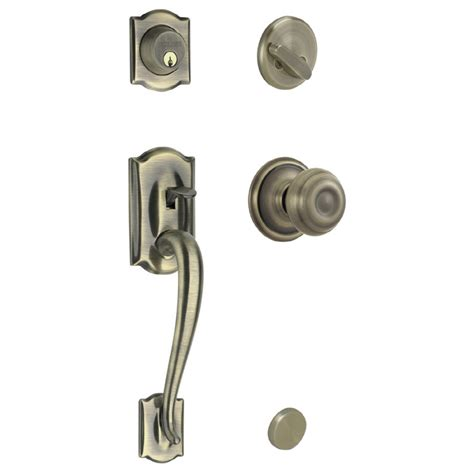 Shop Schlage Camelot Antique Brass Single Lock Keyed Entry Locks For Exterior Doors