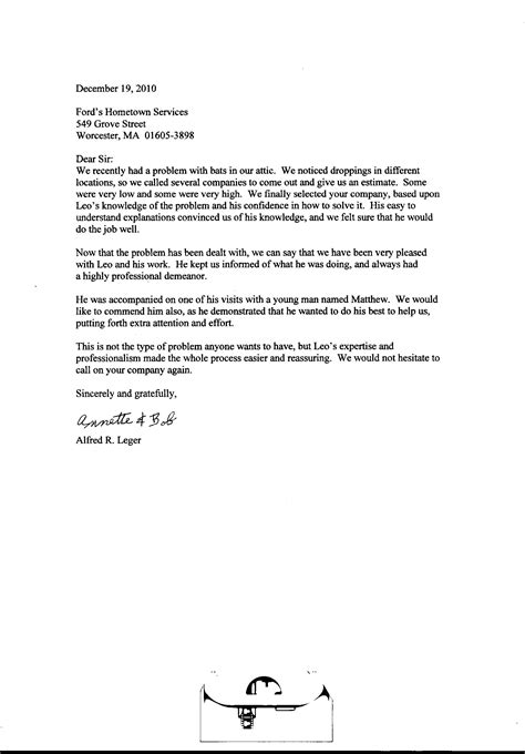 Customer Compliment Letter Bat Wildlife Removal Exclusion Prevention In Central Massachusetts Pest
