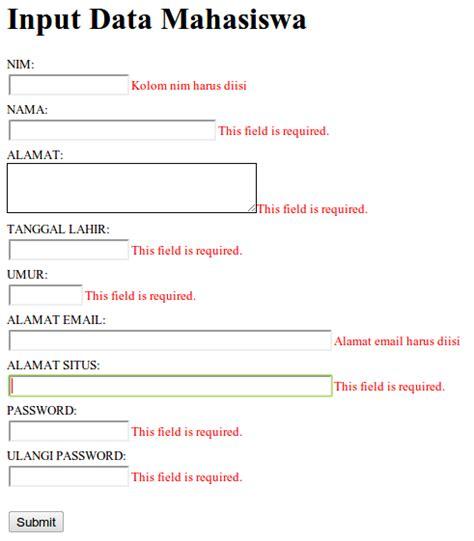 membuat form input dengan html dan css membuat validasi form dengan jquery validation achmatim net