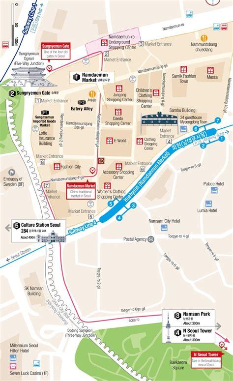 world map city market namdaemun market and namsan mountain map seoul