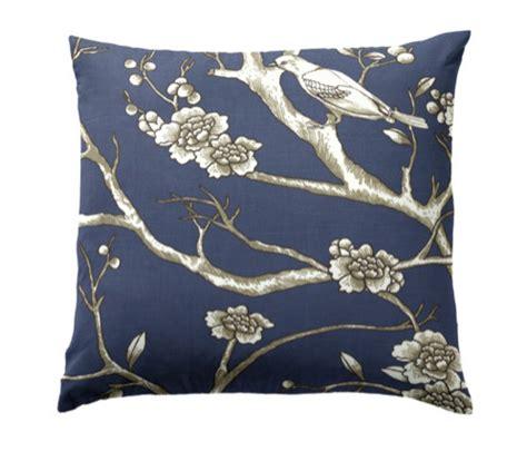 Decorative Pillows With Birds by Bird Branch Navy Throw Pillow