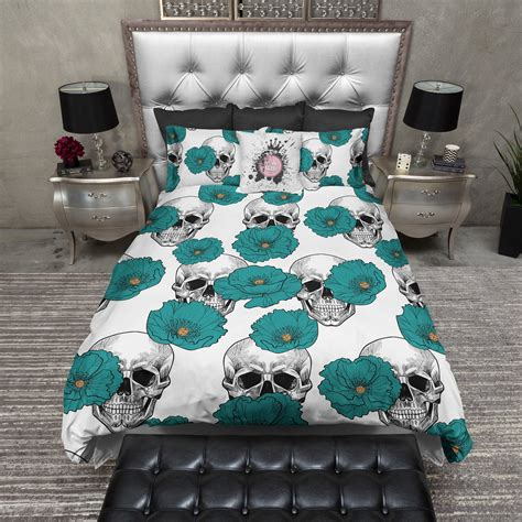 teal and white bedding teal poppy and white skull bedding ink and rags