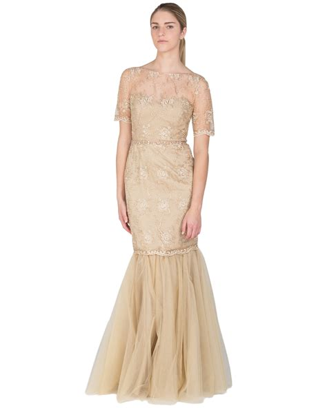 Badgley Mischka Gold Cord Beaded Evening Gown In Metallic