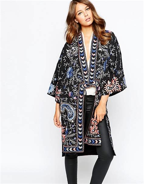 Embroidered Kimono Jacket connection connection bright embroidered