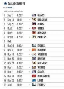 Calendario Nfl 2016 Dallas Cowboys 2016 Nfl Schedule Released