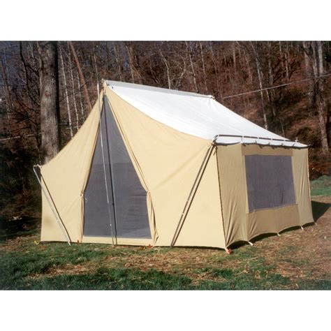 cabin tents trek tents 10 x 14 canvas cabin tent khaki 93359 backpacking tents at sportsman s guide