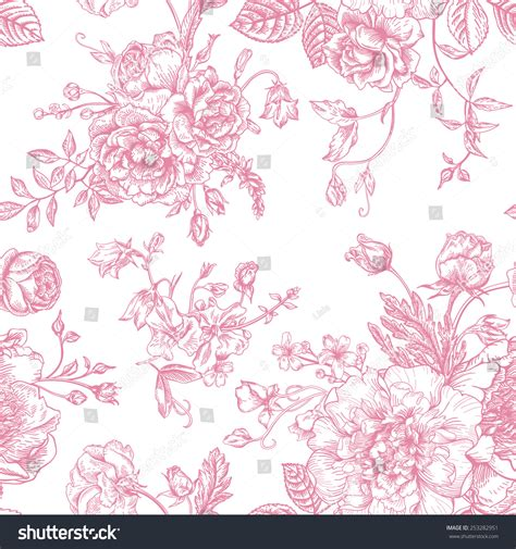 pink pattern show seamless vector vintage pattern bouquet pink stock vector