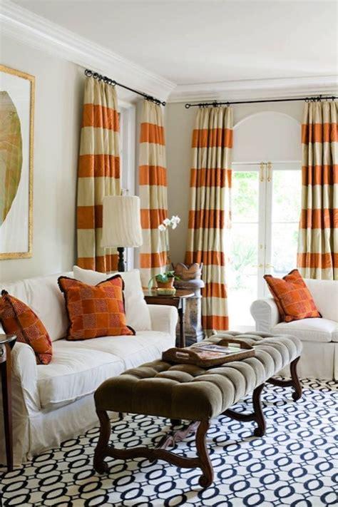 orange  white drapes transitional denlibrary