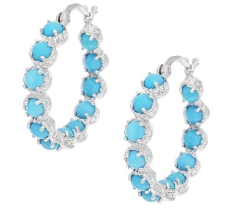 sleeping turquoise sterling inside out hoop earrings qvc