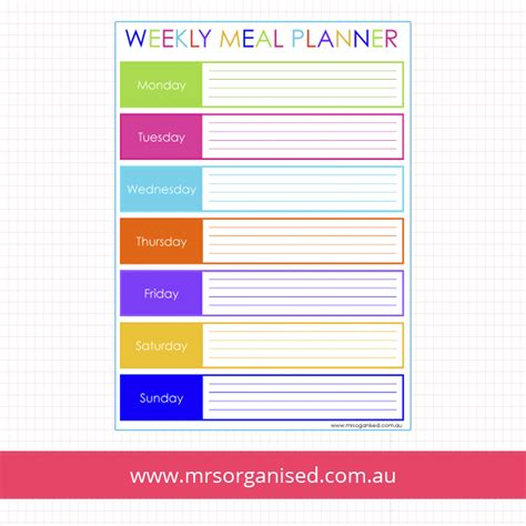 lunch box planner printable meal planning