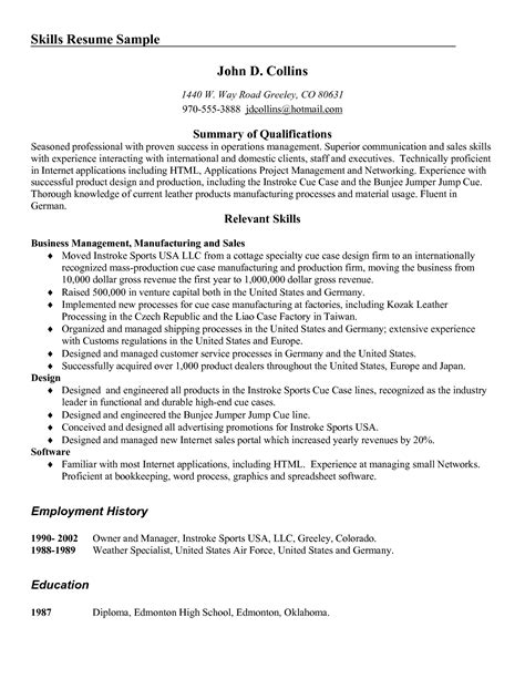 resume sales skills sle 28 images resume computer
