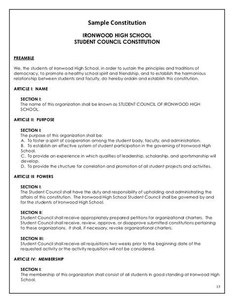 constitution template 2009 10 sponsor handbook peoria