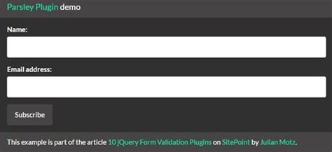parsley pattern validation 10 recommended jquery form validation plugins design posts