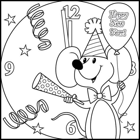 new year colouring pages preschool balloons coloring
