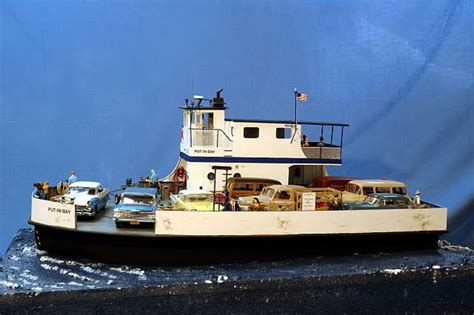 motor boat put to sea scale model of miller boat line ferry put in bay