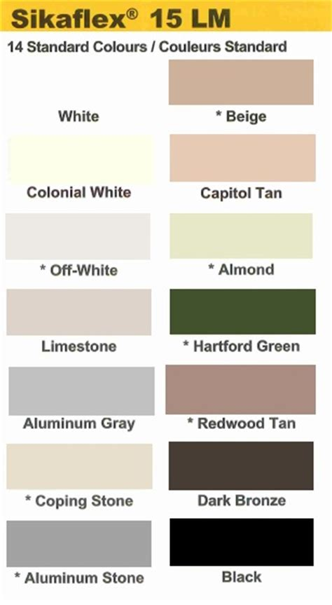 np1 color chart k l sikaflex 15lm nyi building products inc