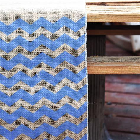 blue pattern table runner vintage burlap wedding table runner w dark blue chevron