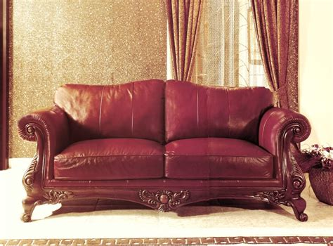 Formal Leather Sofa by 100 Genuine Top Grain Burgundy Leather Formal