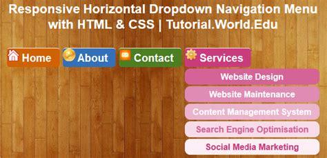 responsive design html css tutorial create responsive horizontal dropdown navigation menu with