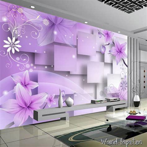 Wallsticker Purple Flower Bunga Ungu vlies fototapeten wandtapeten wandbilder lila tapete