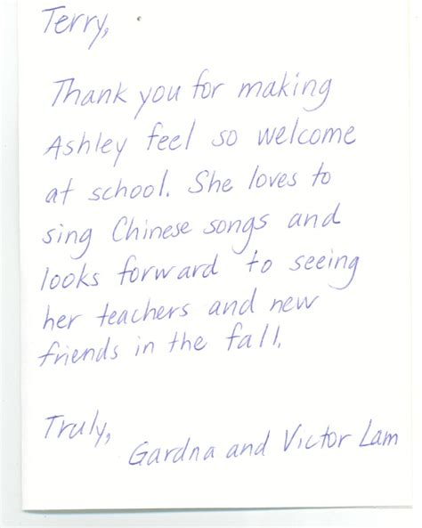 thank you letter to preschool parents thank you note to preschool end of year