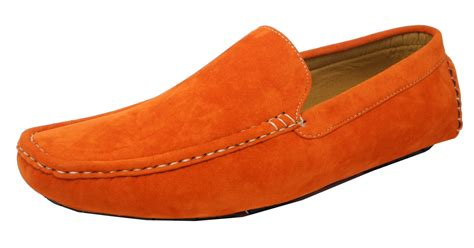 mens orange loafers mens micro suede moccasin mocassin shoes loafers