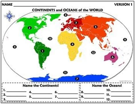 2nd Grade Continents And Oceans Worksheets by Worksheet Continents And Oceans Of The World A Well