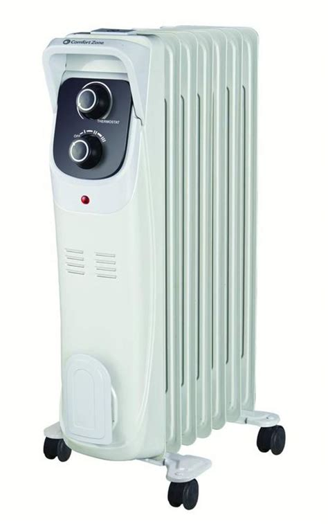 comfort zone oil filled radiator heater comfort zone cz8008 white oil filled electric radiator