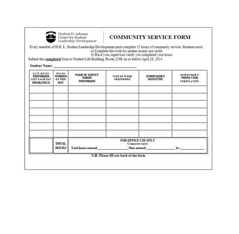 Community Service Letter 40 Templates Completion Verification Free Community Service Form Template