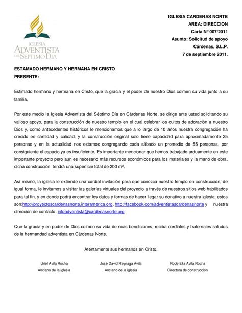 Carta Formal Solicitud De Apoyo carta especial by iglesia adventista s 233 ptimo d 237 a c 225 rdenas norte issuu