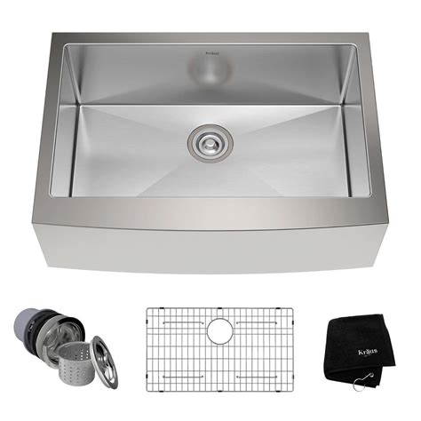 apron front bowl kitchen sink kraus farmhouse apron front stainless steel 30 in single