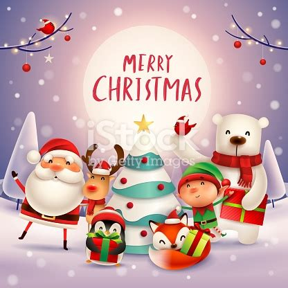 merry christmas  happy  year christmas cute animals character happy christmas companions