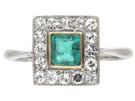 deco emerald square ring the antique