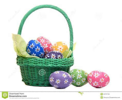 beautiful easter baskets beautiful hand painted easter eggs in green basket stock