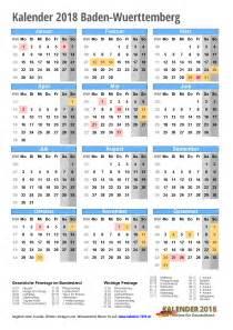 Kalender 2018 Schulferien Ausdrucken Kalender 2018 Baden W 252 Rttemberg Zum Ausdrucken 171 Kalender 2018