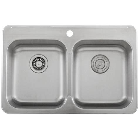 Ticor S998 Overmount 18 Gauge Stainless Steel Double Bowl Ticor Kitchen Sinks