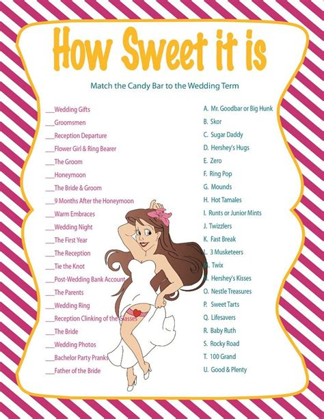 Free Printable Bridal Shower Games How Sweet It Is | 53 best images about bridal shower on pinterest