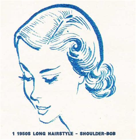 drawings of 1950 boy s hairstyles 1950s hairstyles chart for your hair length glamourdaze