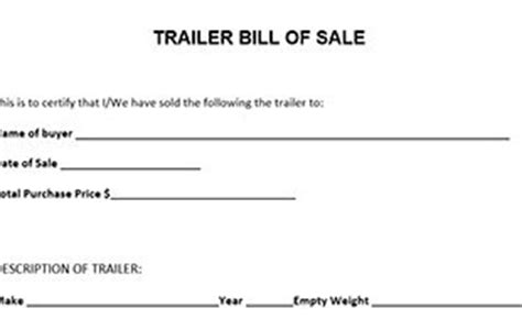 nc trailer bill of sale edit print download fillable templates
