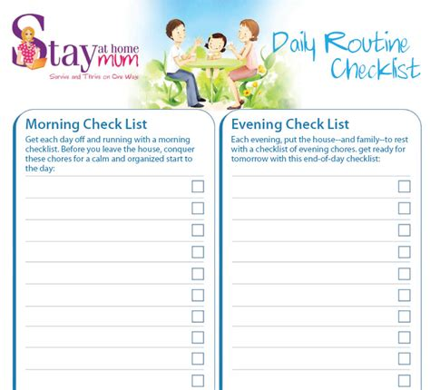 daily routine check list stay at home mum