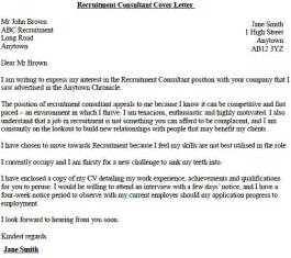 recruitment consultant cover letter exle lettercv