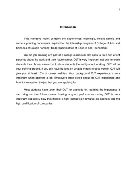 Introduction Letter Sle For Ojt Introduction For Narrative Report At Guidance And Counseling Services