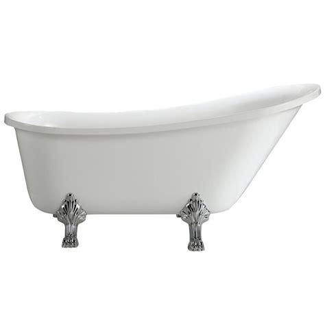 7 Ft Bathtub by Anzzi Aegis 5 7 Ft Acrylic Center Drain Freestanding Bathtub In Glossy White Ft Az082 The